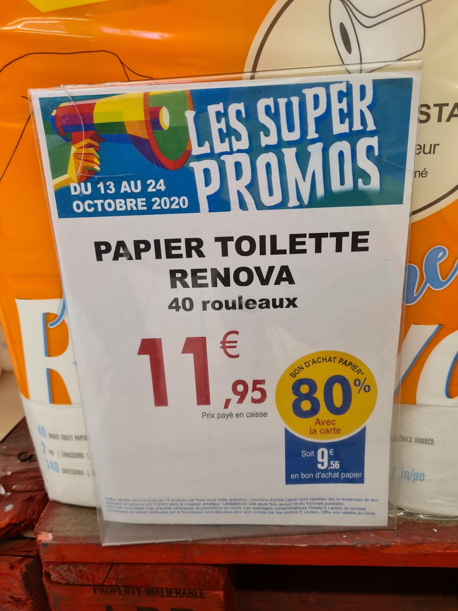Paquet de 40 rouleaux Papier toilette Renova (Via 9.56€ en bon d'achat) - Civrieux d'Azergues (69)
