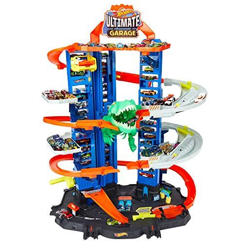 Jouet Garage Hot Wheels City Super Dino Robot Garage avec T-Rex