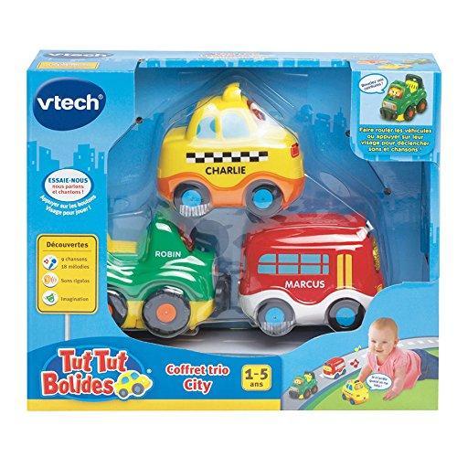 Coffret Trio City Vtech Tut Tut Bolides : Taxi Jaune + Bus Rouge + 4X4