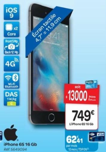 """Smartphone 4.7"""" Apple iPhone 6s 16 Go (via 130€ en remise fidélité)"""