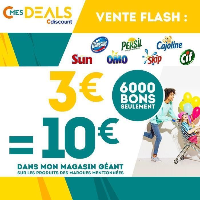Bon d'achat de 10€ valable chez Géant Casino sur les marques Cif, Domestos, Sun, Omo, Skip, Persil, Cajoline