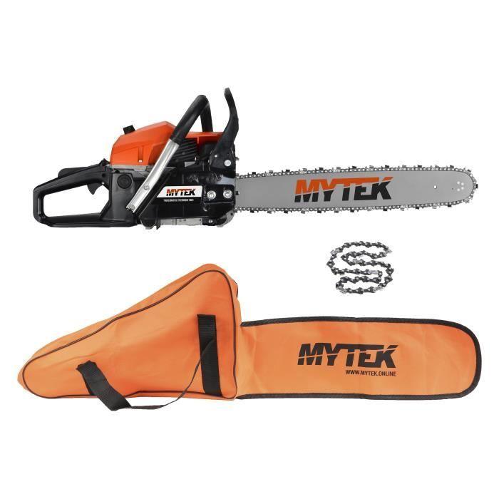 Tronçonneuse Thermique Mytek - 58cc, 50cm + Chaîne Supplémentaire et sa housse (+ 10% à cagnotter pour les CDAV)