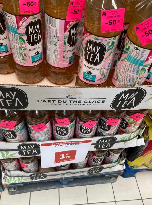 Bouteille de thé glacé infusé May Tea - goût thé vert jasmin (1 L, DDM 16/11/20) - Saint-Priest (69)