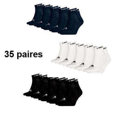 Lot de 35 paires de chaussettes Head - Tailles 35/38, 39/42 et 43/46 - Noir, Bleu foncé ou Blanc