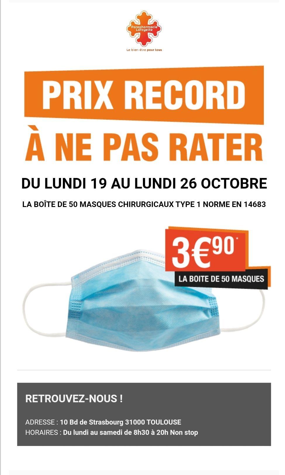 Lot de 50 masques chirurgicaux (Type 1, Norme CE) - Parapharmacie Lafayette à Toulouse (31)