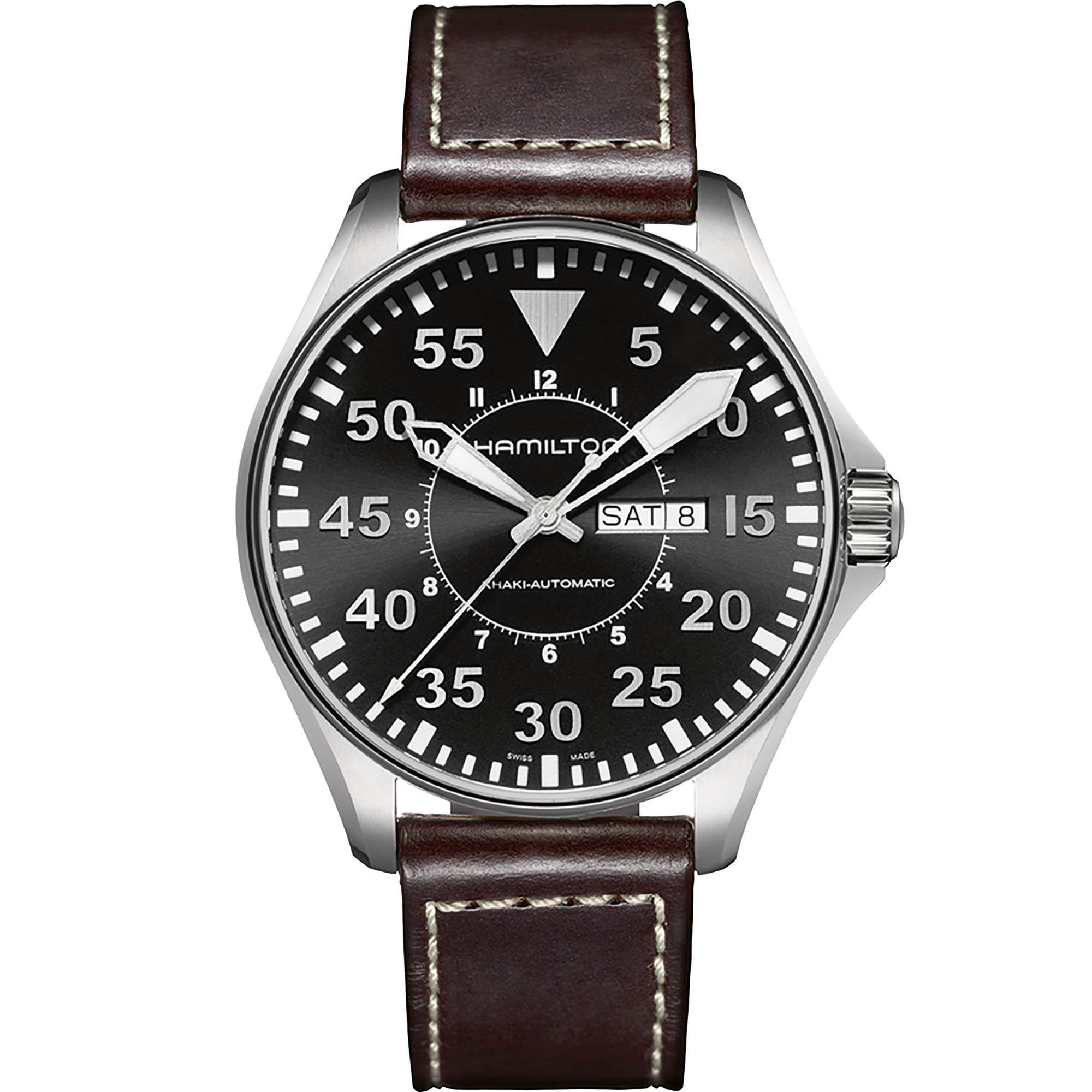 Montre automatique Hamilton Khaki Aviation H64715535 - 46mm, Verre Saphir (emileleon.fr)