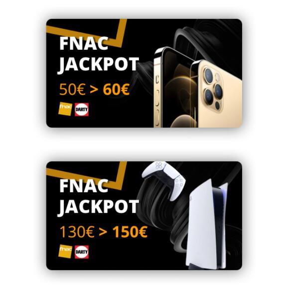 E-cartes cadeaux Jackpot Fnac-Darty : 60€ pour 50€ & 150€ pour 130€ (Valables jusqu'au 20 novembre 2020)
