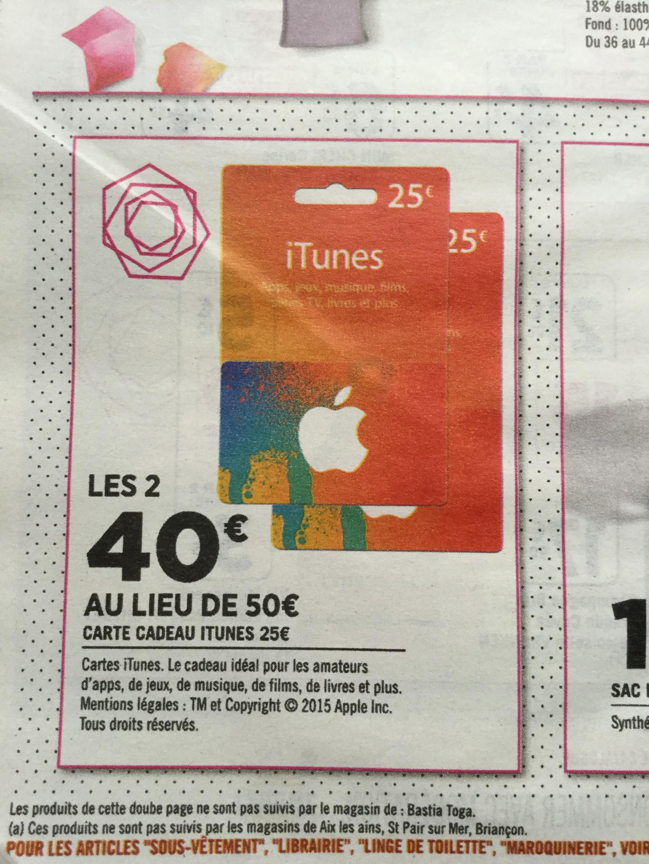2 cartes iTunes de 25€