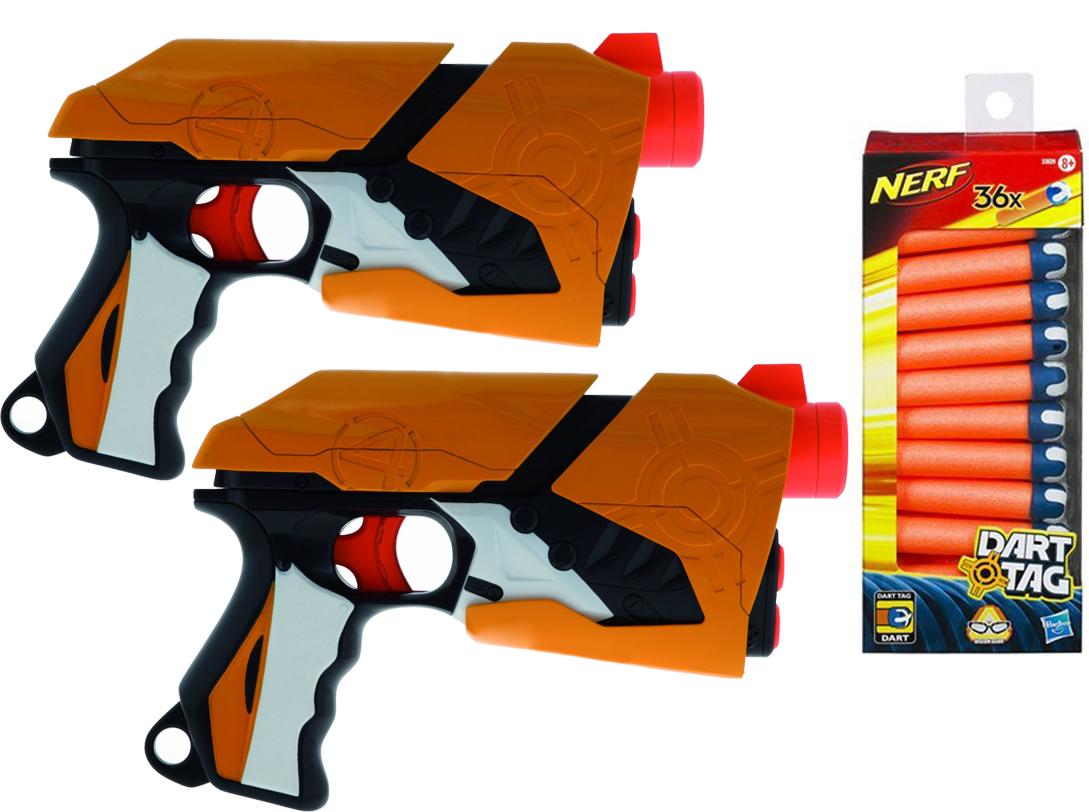 2 pistolets Nerf + 1 pack de recharge offert ( + ODR  de -50% sur le 2éme pistolet acheté)