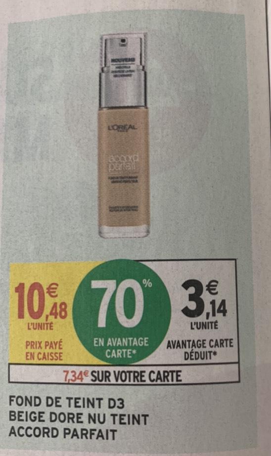 Fond de teint L'Oréal D3 Beige Doré Accord Parfait (via 7.34€ sur le compte fidélité)