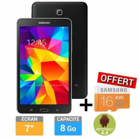 "Tablette 7"" Samsung Galaxy Tab 4 - Noir, 8 Go + microSD Samsung Evo 16 Go offerte"