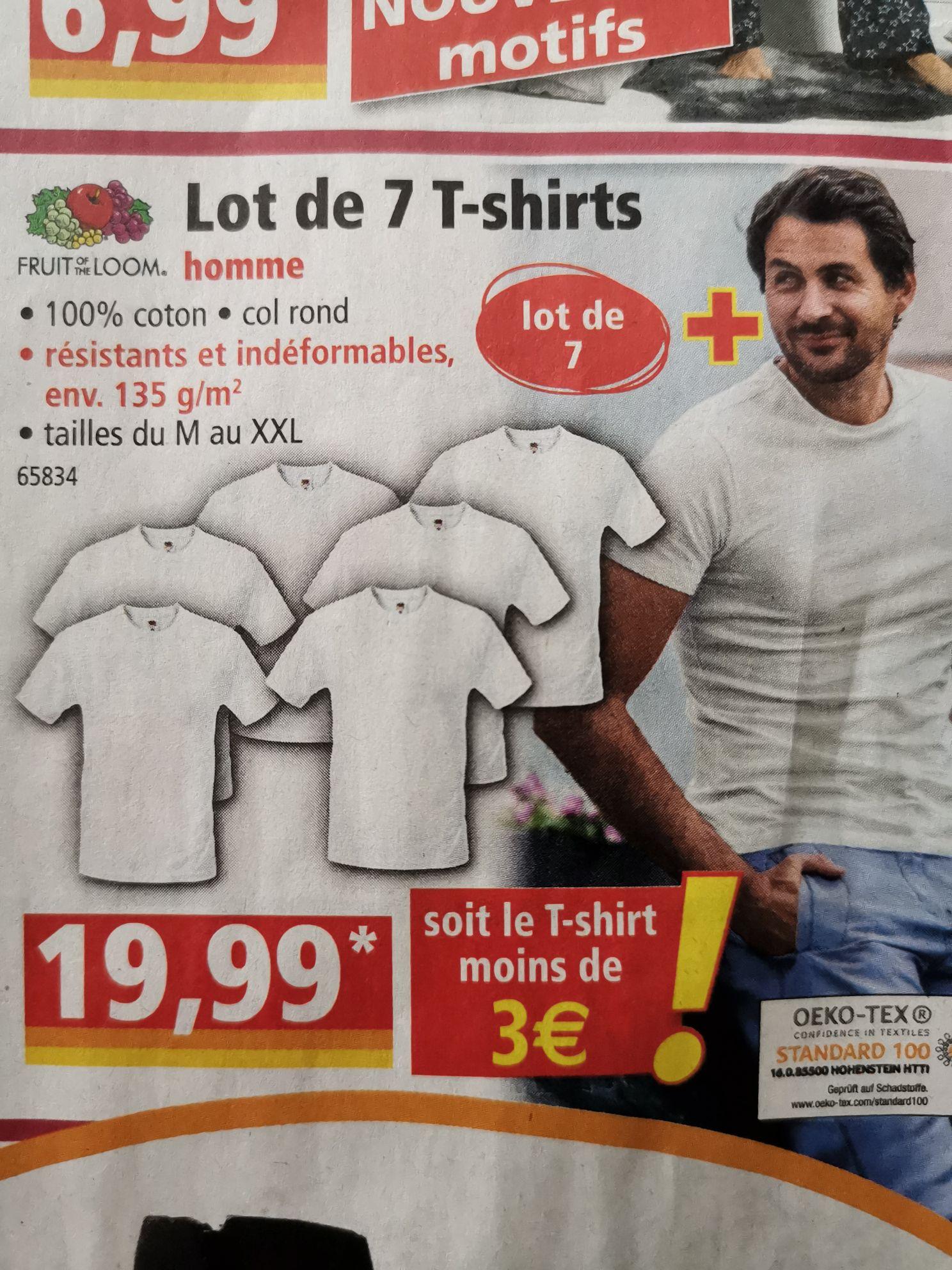 Lot de 7 T-Shirts Fruit of the Loom (Diverses tailles) - Benfeld (67)