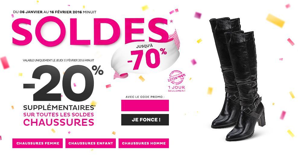 20% de réduction supplémentaire sur les chaussures en soldes