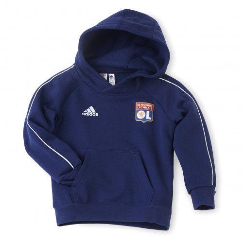 Sweat à capuche molleton Adidas Olympique Lyonnais - Tailles enfant au choix, bleu ou noir