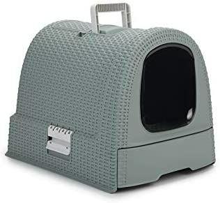Maison de toilette pour chat Curver Pet rattan - Bleu Gris, 51,5x38,5x40 cm