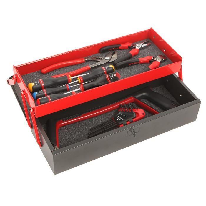 Boîte à outils en métal Facom  + 18 outils à main