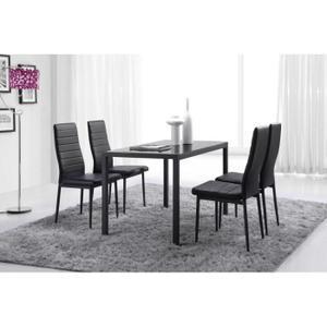 Table en verre trempé + 4 chaises polyuréthane Santa - Coloris Noir