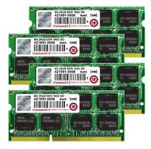 Kit de Ram Transcend TS32GJMA524H - DDR3 - So Dimm - 32 Go (4 x 8 GB, 1600 MHz, CL11)