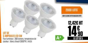 Lot de 5 ampoules spot LED 5W
