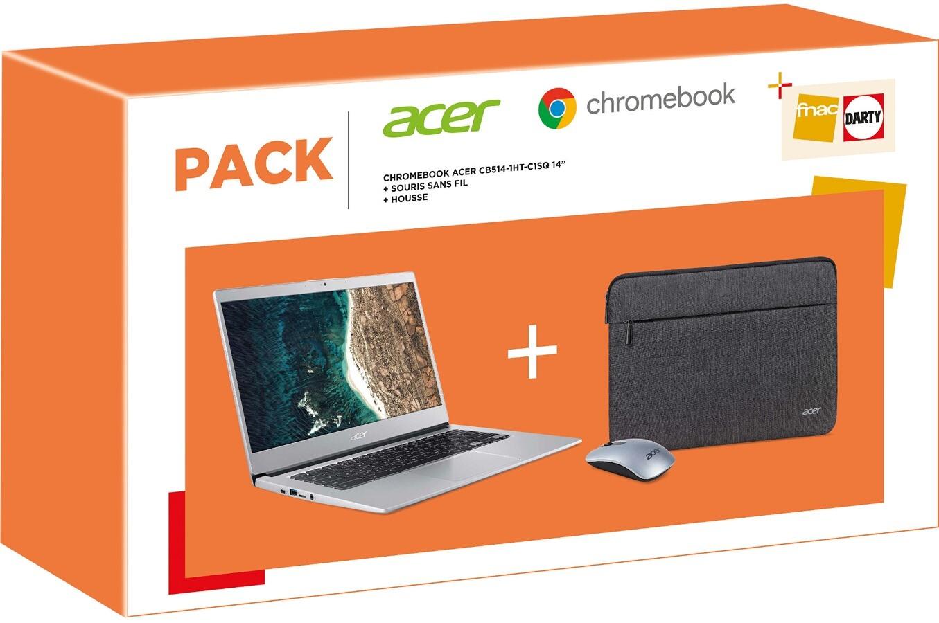 """PC Portable 14"""" Acer Chromebook CB514-1HT-C1SQ - Celeron N3350, 64Go, 8Go de RAM + Souris sans fil + Housse"""