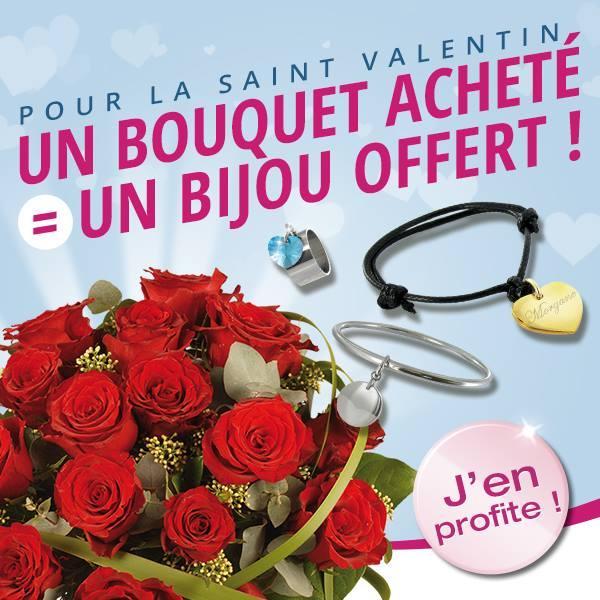 Un bouquet de fleurs acheté = Un bijou offert parmi une sélection