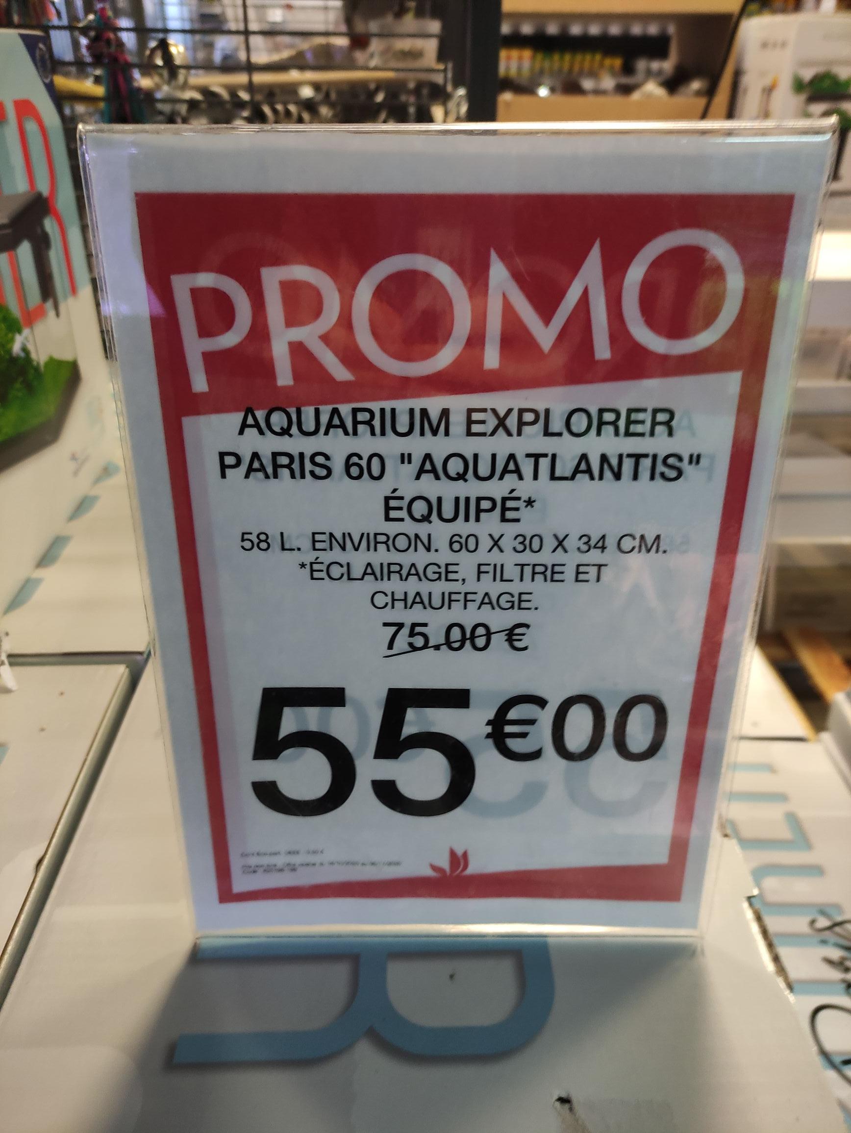 Aquarium aquatlantis Explorer Paris 60 - 58L, Truffaut Mauguio (34)
