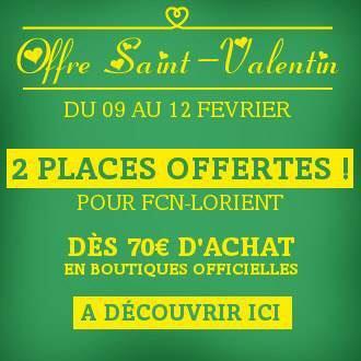 2 Places offertes pour le match de foot Nantes/Lorient du 13/02 dès 70€ d'achats