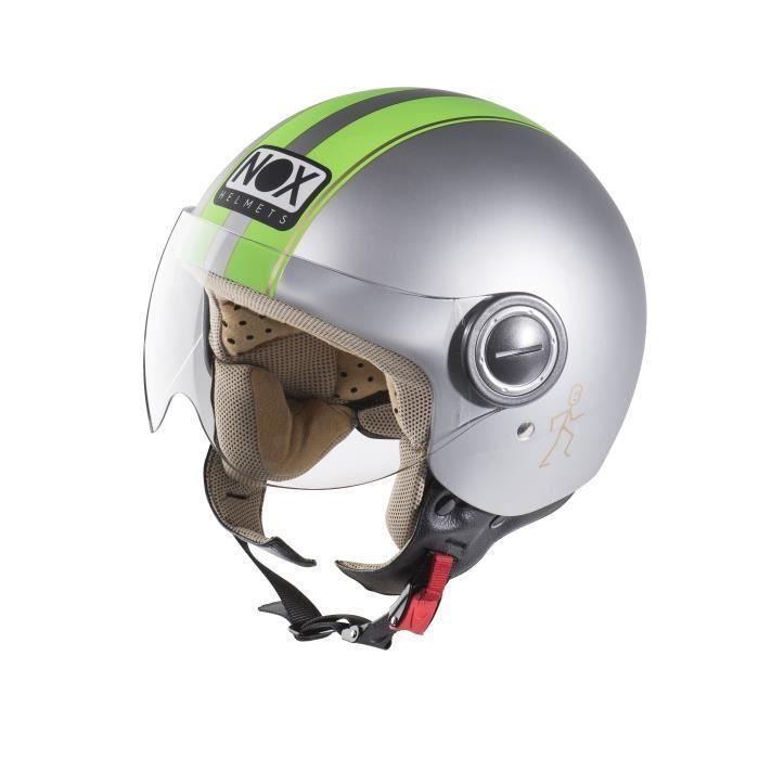 Casque scooter/cyclo jet Nox N210 - Gris Mat et Vert Fluo (Plusieurs tailles)