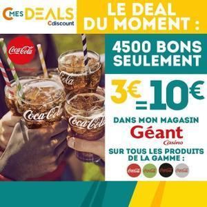 Bon d'achat de 10€ valable en magasin Géant Casino sur les produits Coca Cola, Coca Cola Life, Coca Cola Zéro et Coca Cola Light