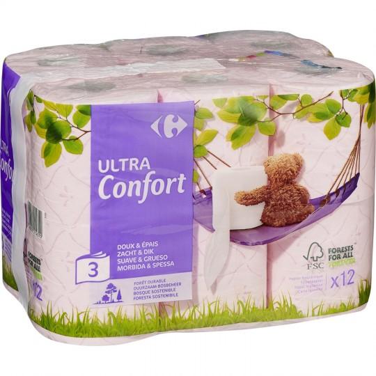 Lot de 2 paquets de 12 rouleaux de papier toilette Ultra Confort