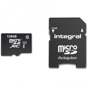 Carte microSDXC Intergral Classe 10 (jusqu'à 90 Mo/s) - 128 Go avec adaptateur