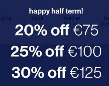 20% de réduction dès 75€ d'achat, -25% dès 100€ et -30% dès 125€ d'achat sur tout le site