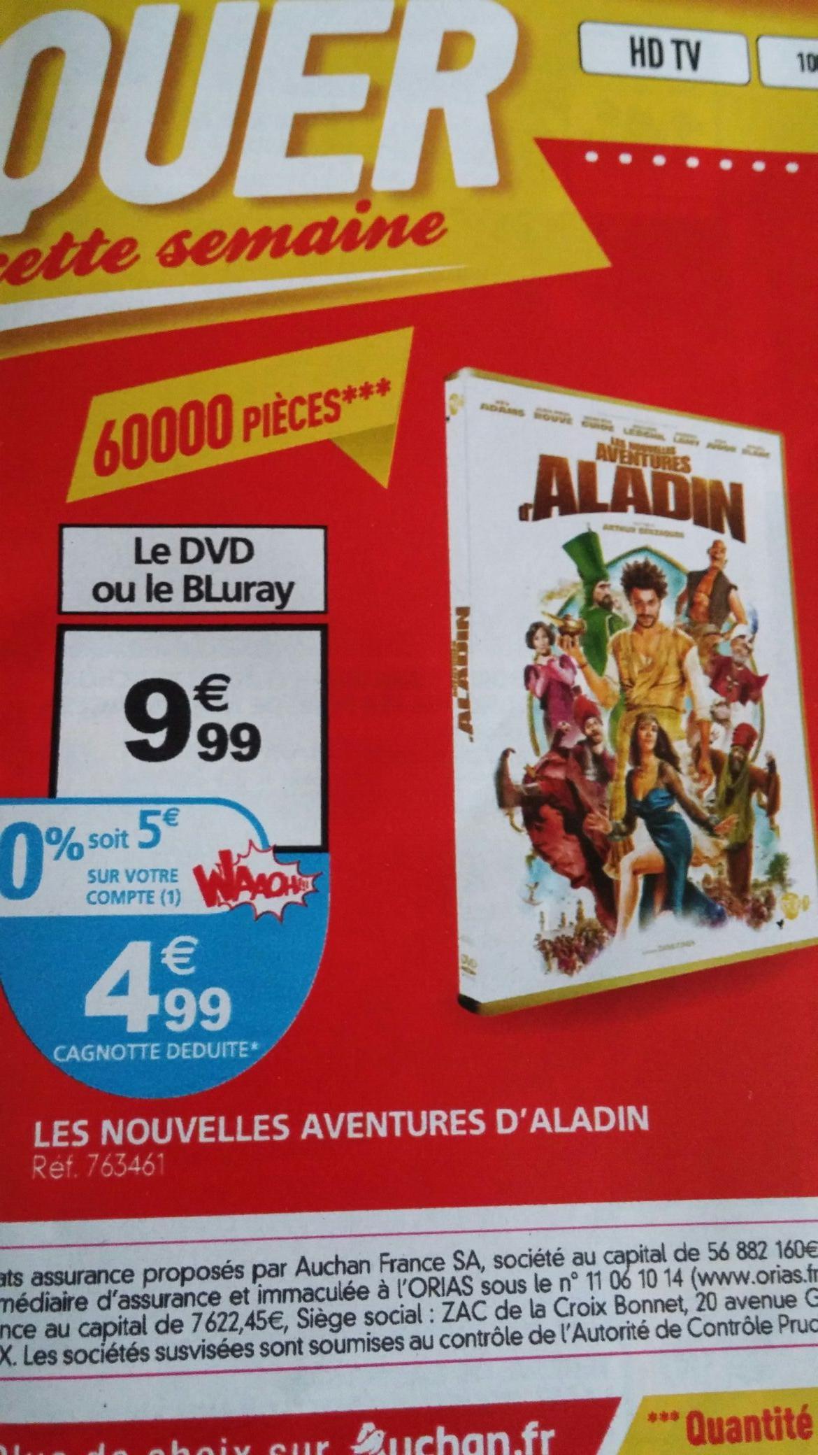 DVD ou BLURAY Les nouvelles aventures d'Aladin (avec 5€ sur la carte)