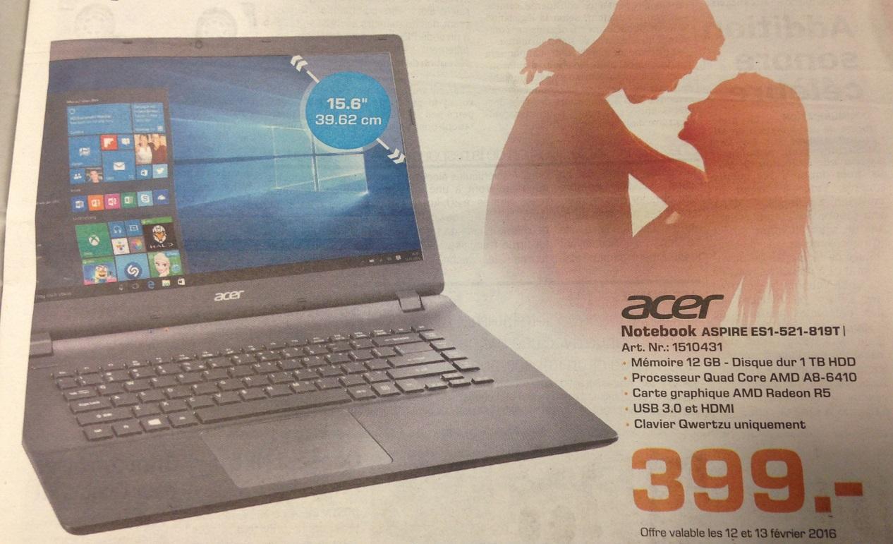 """PC Portatble 15.6"""" Acer Aspire ES1-521-819T - AMD A8-6410, 12 Go Ram, 1 To HDD, AMD Radeon R5"""