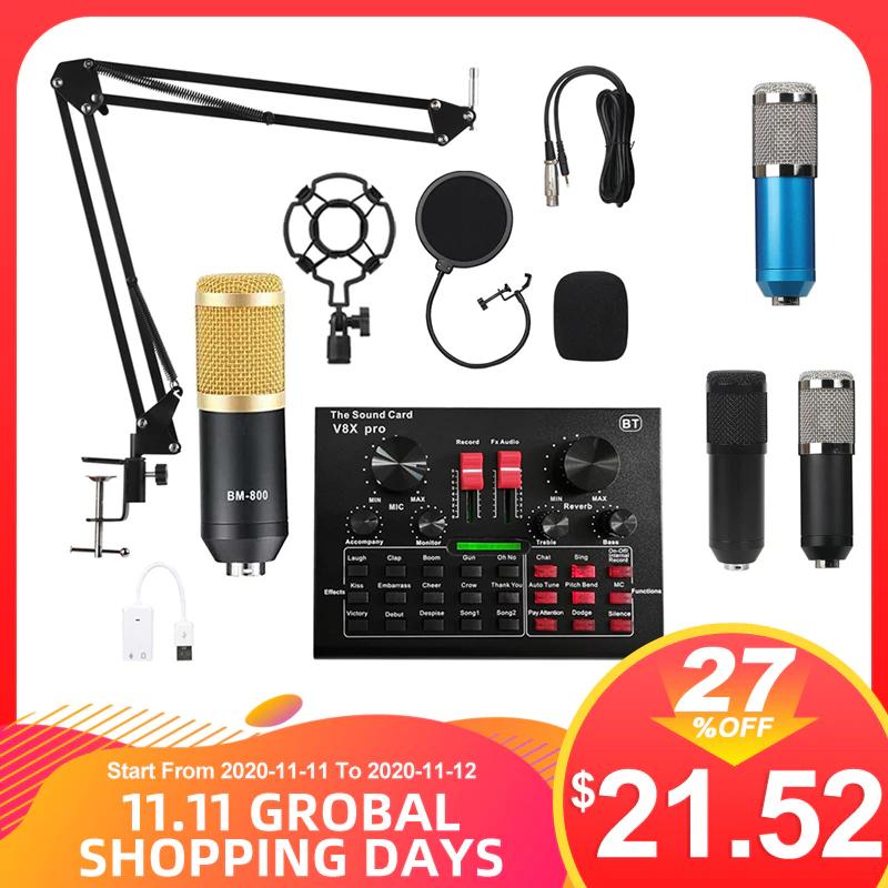 Ensemble Audio USB BM800 Pro avec Micro & Mixeur V8X Pro