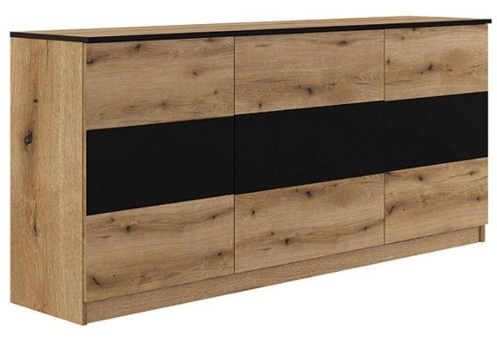 Buffet 2 portes et 3 tiroirs Berlioz - Imitation chêne et noir
