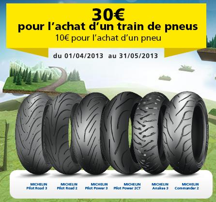 Pneus moto Michelin - Remboursement de 30€ pour l'achat d'un train de pneus, et 10€ pour l'achat d'un pneu