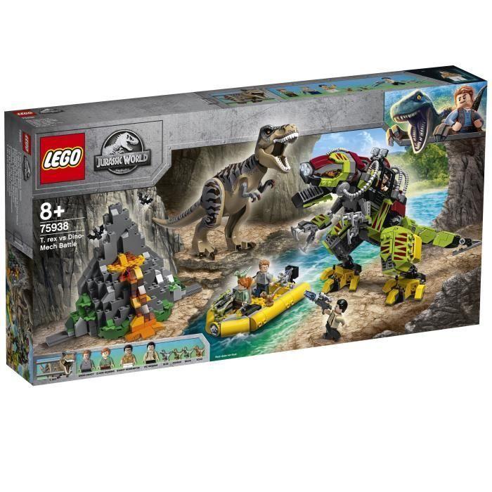 Jeu de construction Lego Jurassic World - La bataille du T. rex contre le Dino-Mech n°75938
