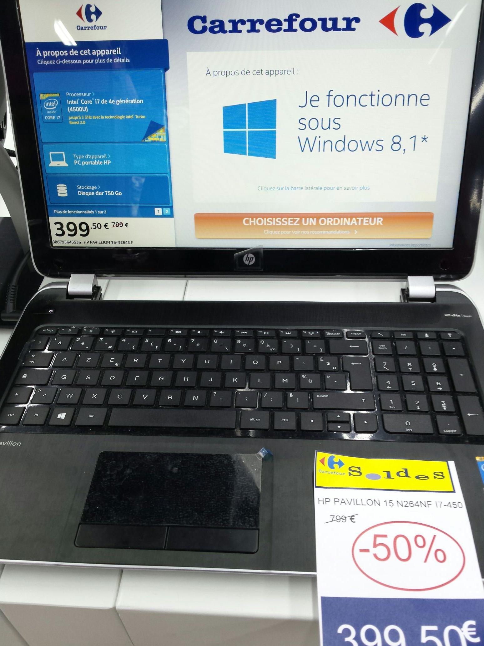 "PC portable 15""  HP Pavilion 15_N264NF (Intel i7 4500U, 4 Go RAM, 750 Go, GT740M)"