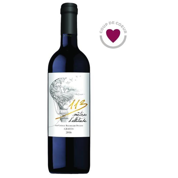 Bouteille de vin rouge Bordeaux Graves Château Beauregard Ducasse 113 Mètres d'Altitude 2016 - 75cl