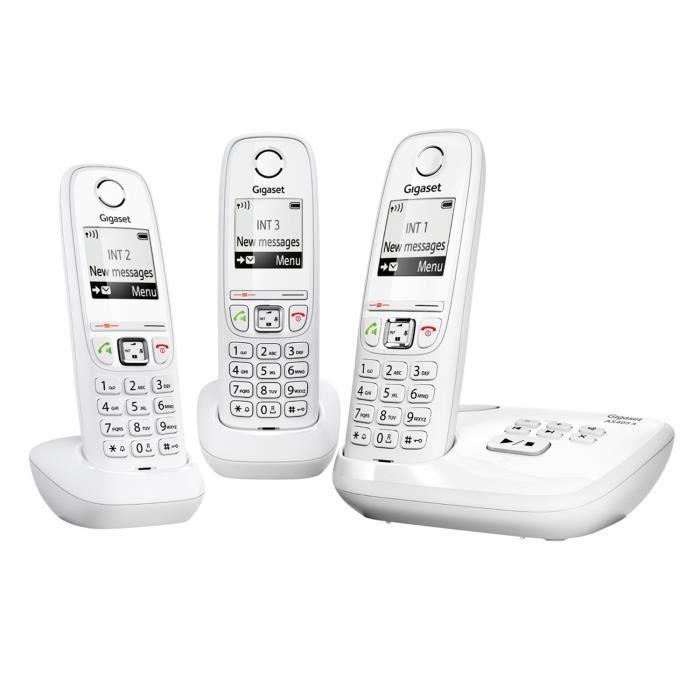 Pack 3 téléphones fixes Gigaset AS405 Trio avec Répondeur + main libre