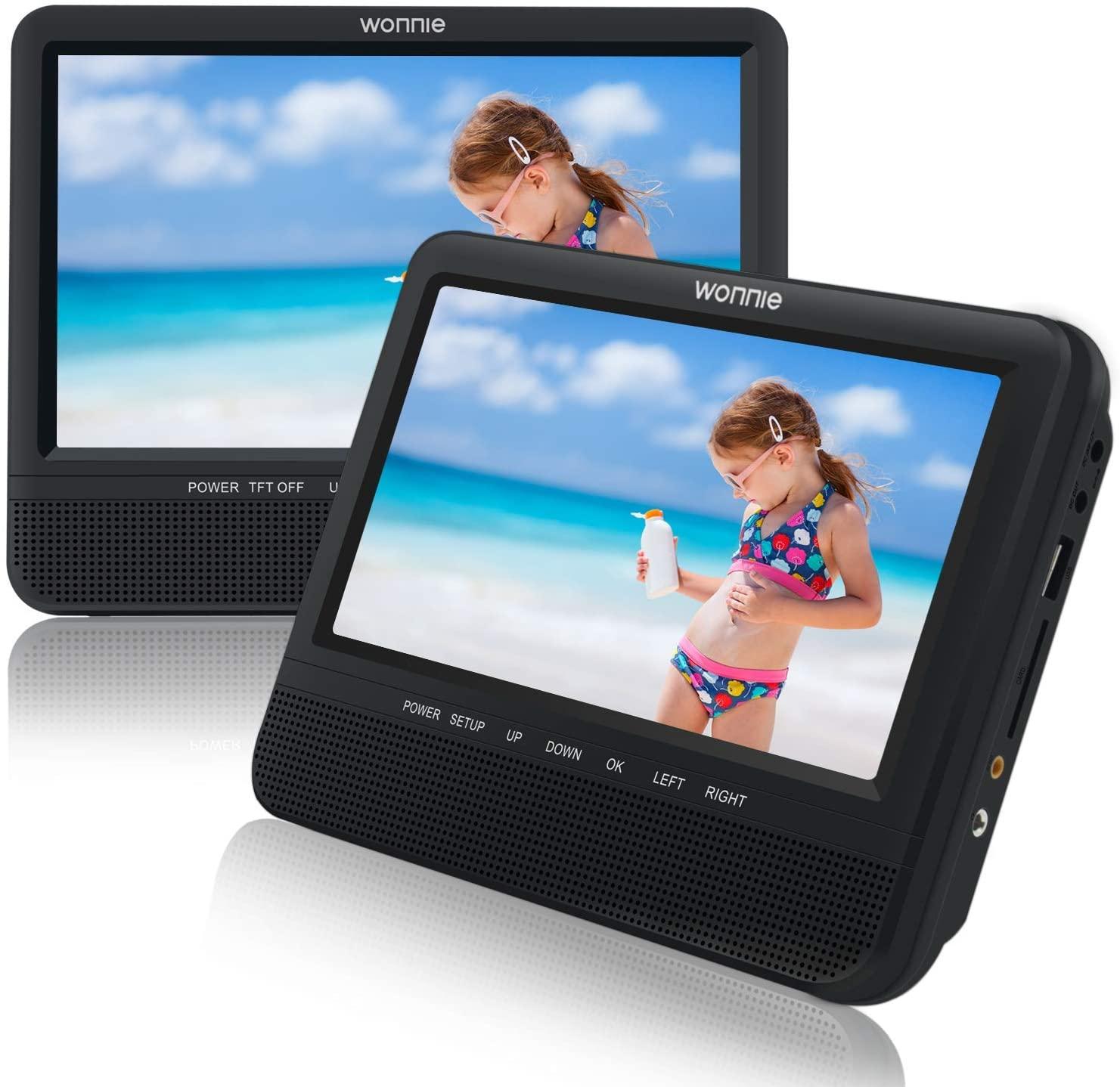 """Lecteur DVD portable Wonnie - 2 Ecrans 7.5"""" avec de Puissants Haut-parleurs stéréo (vendeur tiers)"""