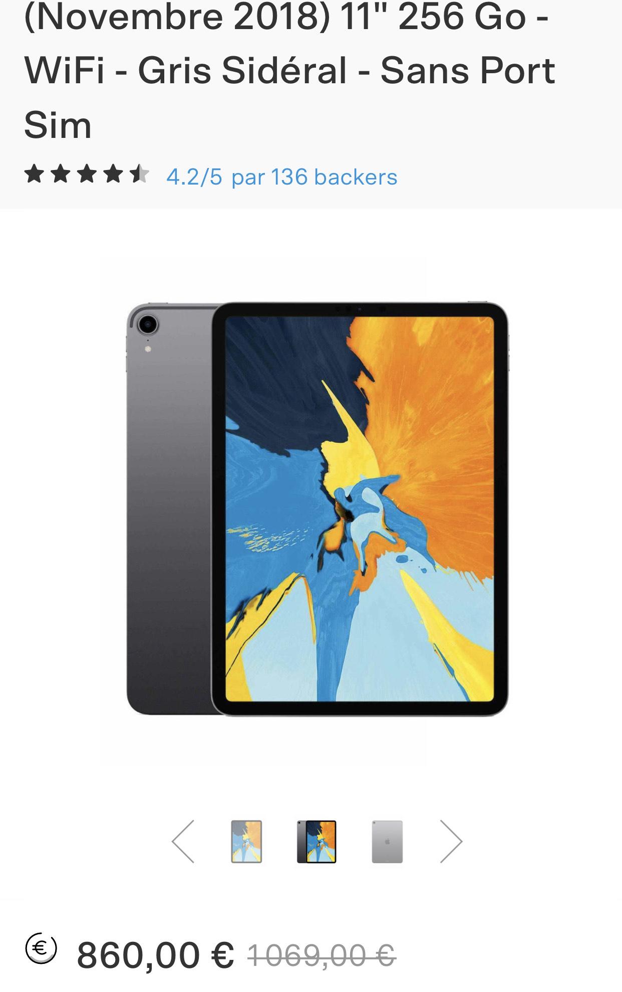 """Tablette 11"""" Apple iPad Pro 11"""" WiFi (1e génération) - 256 Go (Occasion - Comme Neuf)"""
