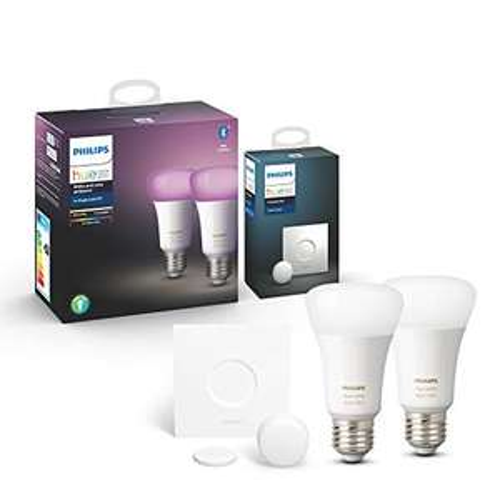 2 Ampoules LED Connectées Philips Hue White & Color Ambiance E27 Compatible Bluetooth + Smart Button