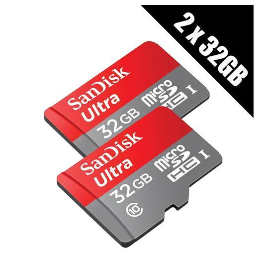 Lot de 2 cartes microSDHC SanDisk Ultra UHS-I Class 10 - 2x32 Go + adaptateur SD