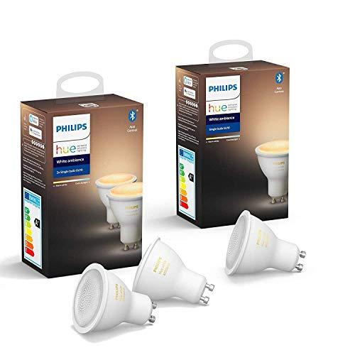 3 Ampoules LED connectées Philips Hue White Ambiance GU10 - Compatible Bluetooth, Fonctionne avec Alexa