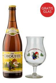 Lot de 12 bouteilles de bière La Chouffe 75cl + 12 verres
