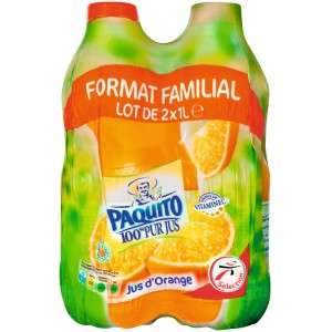 Lot de 2 packs de Pur jus d'orange ou multifruits sans pulpe Paquito - 4x1L