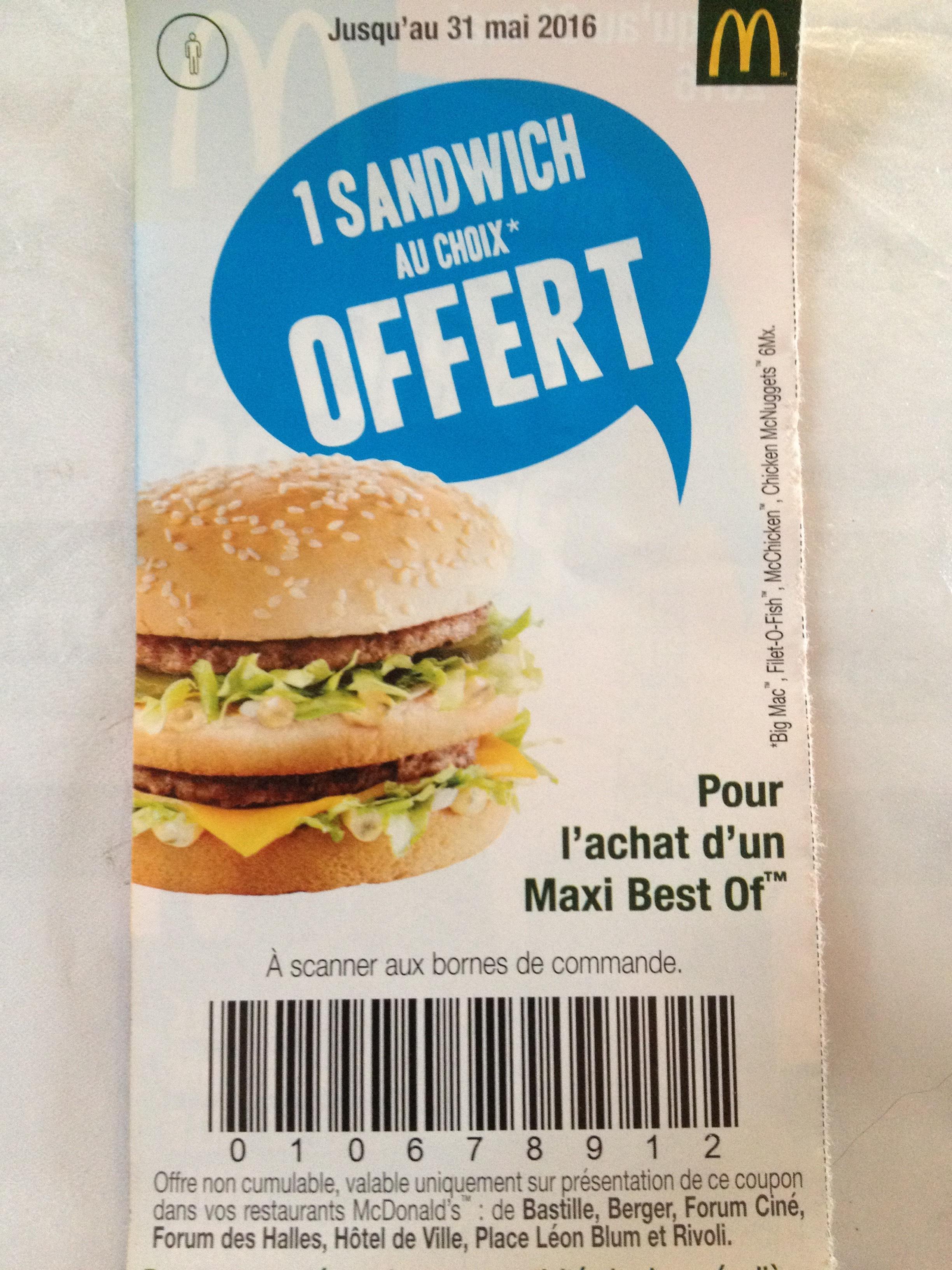 Sélection de promotions - Ex : Un burger offert pour l'achat d'un Maxi Best Of