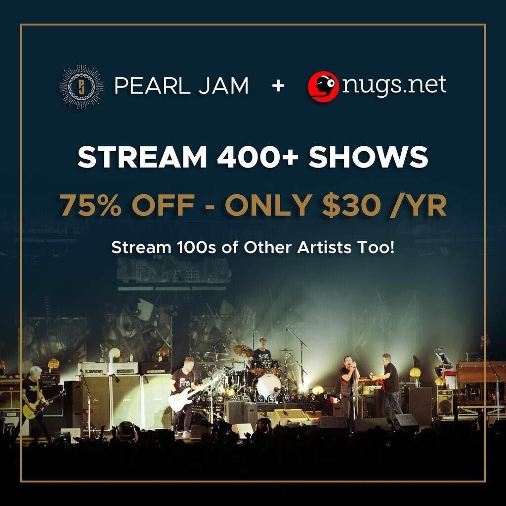 Abonnement Annuel de Pearl Jam : + de 400 concerts audio et vidéos, + d'autres artistes (Dématérialisé, nugs.net)